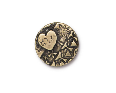 TierraCast Antique Brass (plated) Amor Round Button 16mm