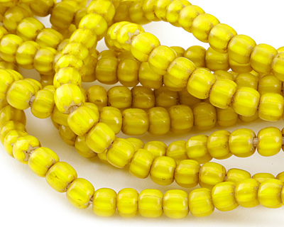 African Trade Beads Canary White Heart Glass Melon 7-8mm