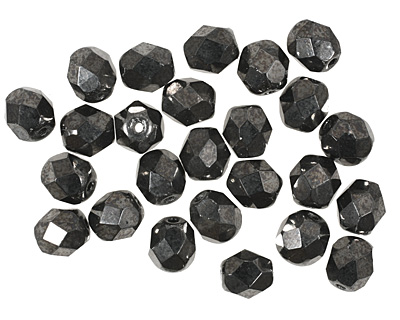 Czech Fire Polished Glass Hematite Round 6mm