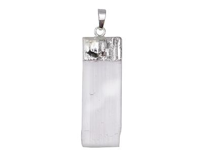Gypsum Natural Cut Rectangular Pendant w/ Silver Finish 17-21x54-58mm