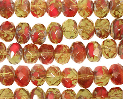 Czech Glass Pickled Pepper Fire Polished Rondelle 6x9mm