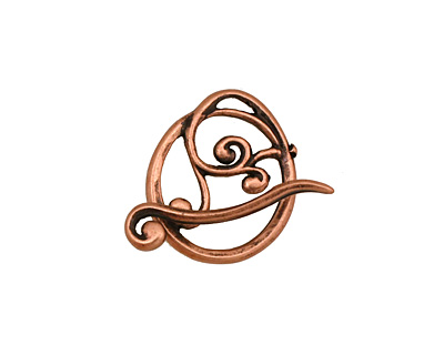 Antique Copper (plated) Swirly Toggle Clasp 18x16mm, 22mm bar