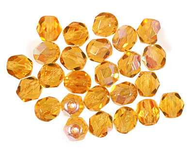 Czech Fire Polished Glass Medium Topaz AB Round 6mm