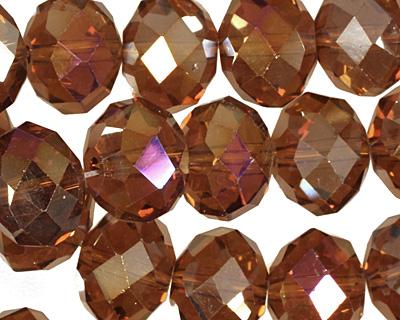 Dark Topaz AB Crystal Faceted Rondelle 14mm