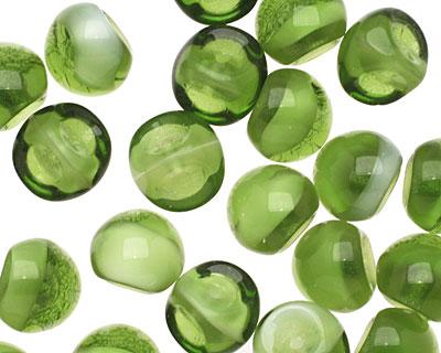 Czech Glass Bottle Green Teardrop 9x8mm