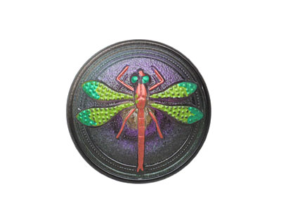 Czech Glass Green & Fuchsia Dragonfly Button 23mm
