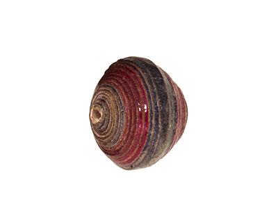 African Paper (navy, jade, merlot) Bicone 14-15x17-18mm
