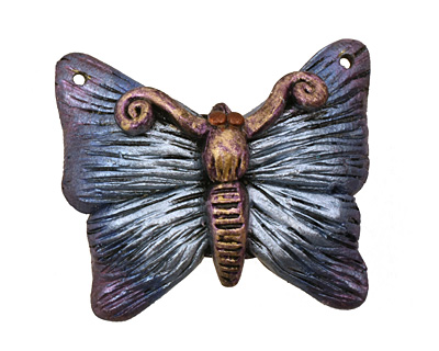 Poison Tree Polymer Clay Blue Butterfly 33-34x27-28mm