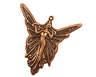 Stampt Antique Copper (plated) Madame Butterfly Pendant 30x30mm