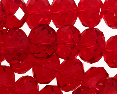 Deep Red Crystal Faceted Rondelle 14mm