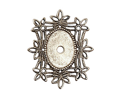 Stampt Antique Pewter (plated) Floral Filigree Oval Setting 10x14mm