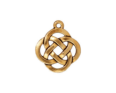 TierraCast Antique Gold (plated) Celtic Open Round Pendant 18x20mm