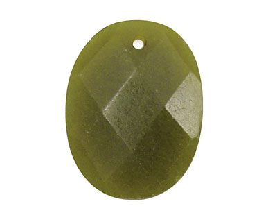 Olive Jade Faceted Oval Pendant 23x30mm