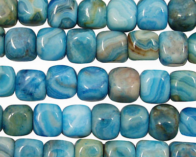 Larimar Blue Crazy Lace Rounded Edge Cube 7mm