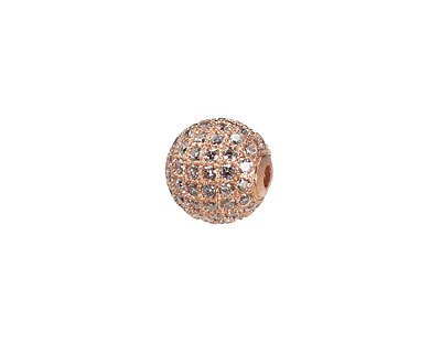 Rose Gold (plated) CZ Micro Pave Round 10mm