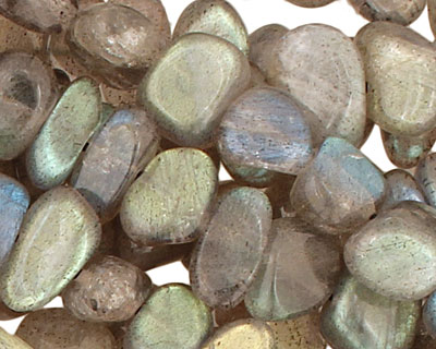 Labradorite (AA) Flat Polished Pebble (side drilled) 5-8x8-12mm
