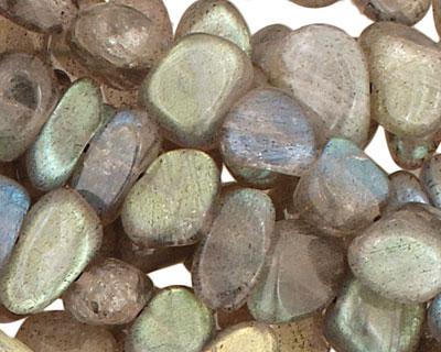 Labradorite (AA) Flat Polished Pebble (side drilled) 5-8x8-12mm