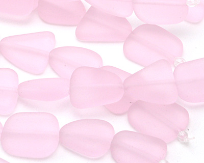 Blossom Pink Recycled Glass Flat Freeform 15x13-15mm
