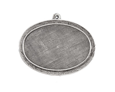 Nunn Design Antique Silver (plated) Horizontal Raised Oval Pendant 44x35mm