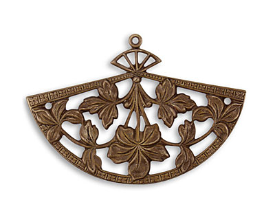 Vintaj Natural Brass Fanned Blossom Pendant 54x37mm