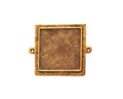 Nunn Design Antique Gold (plated) Raised Bezel Small Square Link 37x29mm