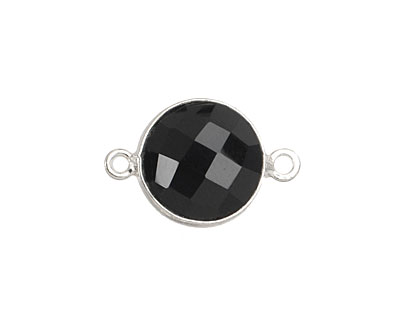 Black Onyx Faceted Coin Link in Sterling Silver 20x13mm