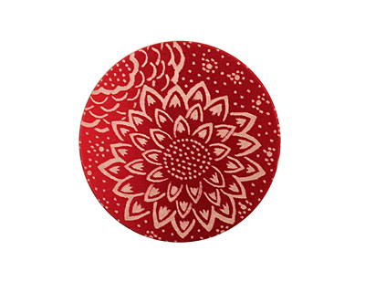 Lillypilly Red Dahlia Anodized Aluminum Disc 25mm, 24 gauge