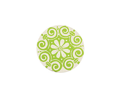 Lillypilly Lime Green Scrolling Daisy Anodized Aluminum Disc 19mm, 24 gauge