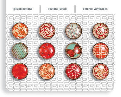 Crimson Glazed Buttons 12mm
