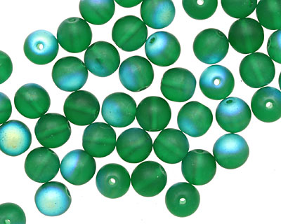 Czech Glass Matte Green Emerald AB Round 6mm