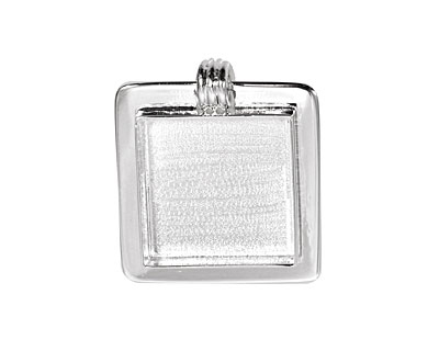 Silver (plated) Lipped Square Bezel 25mm