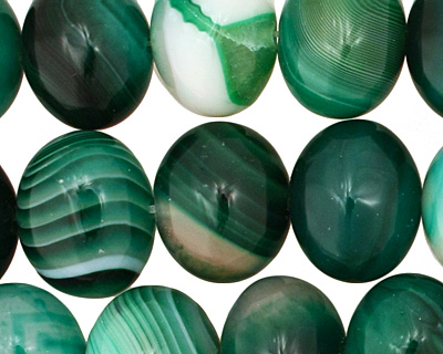 Emerald Line Agate Side Drilled Puff Oval 15x18-19mm