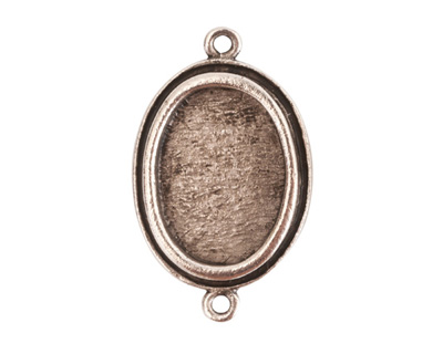 Nunn Design Antique Silver (plated) Traditional Oval Bezel Pendant Link 31x19mm