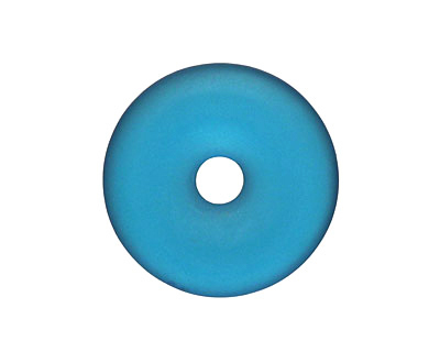 Peacock Blue Recycled Glass Donut 25mm