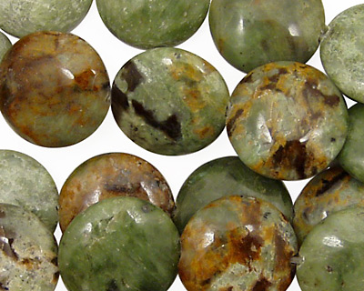 Petrified Green Opal Puff Coin 15mm