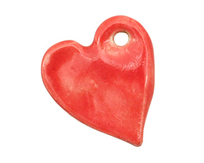 Gaea Ceramic Red Hot True Love Pendant 25x29mm