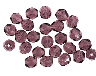 Czech Fire Polished Glass Amethyst Round 6mm
