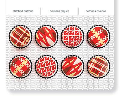 Crimson Stitched Buttons 17mm