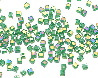 Emerald Opalite AB Crystal Faceted Cube 2mm