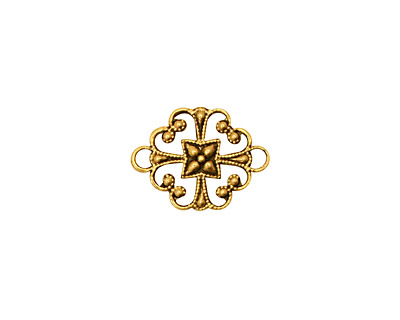 Stampt Antique Gold (plated) Clover Connector 16x12mm