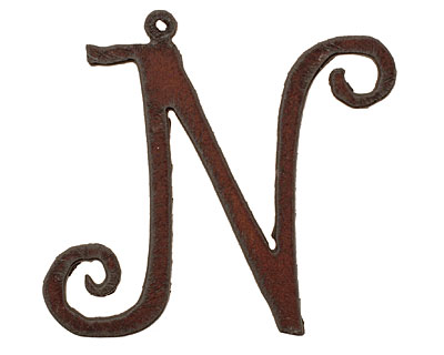 The Lipstick Ranch Rusted Iron Letter N Pendant 52x50mm