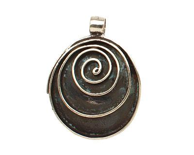 Saki White Bronze Spiral Drop Pendant 27x35mm