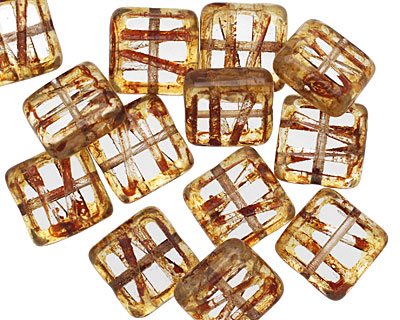 Czech Glass Crystal Picasso Carved Square 10mm