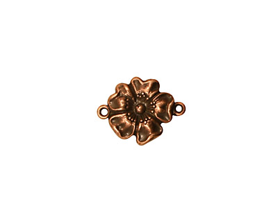 Stampt Antique Copper (plated) Buttercup Connector 14x11mm
