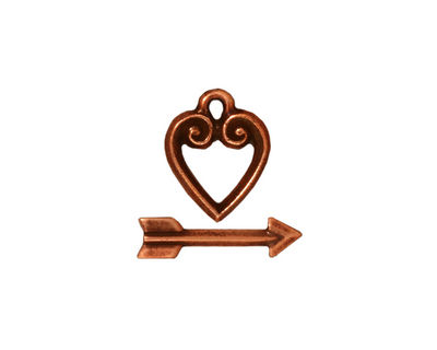 TierraCast Antique Copper (plated) Heart & Arrow Toggle Clasp 14x11mm
