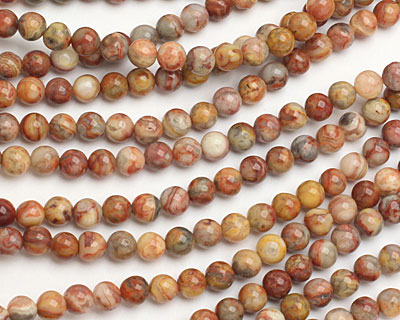 Crazy Lace Agate (red) Round 6mm
