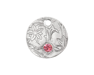 Nunn Design Antique Silver (plated) Decorative Small Circle Tag w/ Rose Crystal 20mm