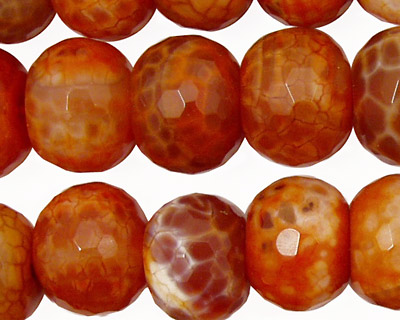 Fire Agate Faceted Rondelle 15mm