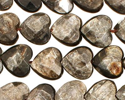 Golden Mica Faceted Heart 12mm