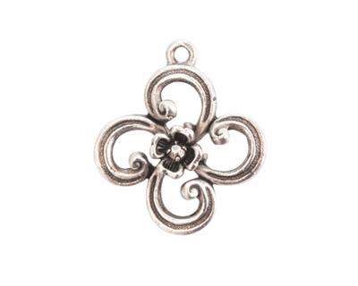 Nunn Design Antique Silver (plated) Fanciful Flower Petal Charm 22x25mm